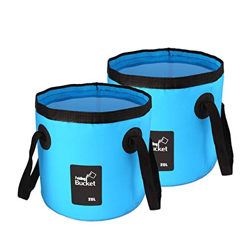 2 Pack Collapsible Buckets,Camping Water Storage Container 5 Gallon(20L) Portable Folding Bucket Wash Basin for Traveling Hiking Fishing Boating Gardening(Blue)