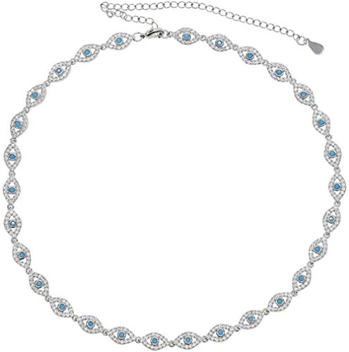N-G Micro pavé Blanco cz Azul turquesas Piedra pequeño Encanto de Ojo Malvado Lucky Turco Gargantilla de Ojo Malvado Collar