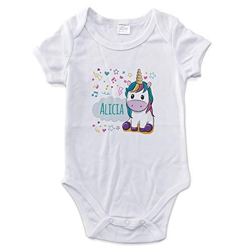 LolaPix Bodys Bebé Personalizados con Nombre. Regalos Personalizados para Bebés. Bodies Personalizados Manga Corta. Varias Tallas. Unicornio