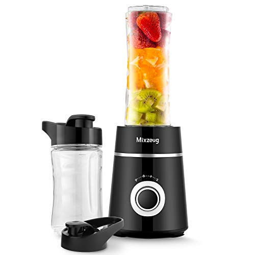 Smoothie Blender, MIXZEUG Personal Blender, Electric Portable Blenders with 350W Base for Juice Shakes and Smoothie, Single Serve Small Blender With 2 Cups With Spout Lids - Black