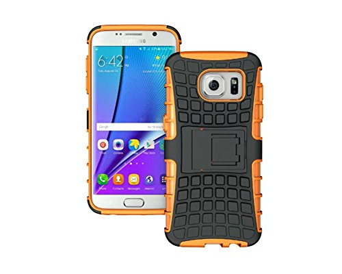 FaLiAng Samsung Galaxy S7 Edge Funda, 2in1 Armadura Combinación Neumáticos Patrón A Prueba de Choques Heavy Duty Escudo Cáscara Dura para Samsung Galaxy S7 Edge (Naranja)