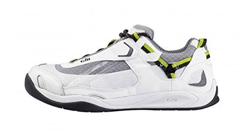 Gill Gill Damen Herren Bootsschuhe Deck Tech Race Trainer Deckschuhe, Farbe:White/Lime, Größe:44 EU