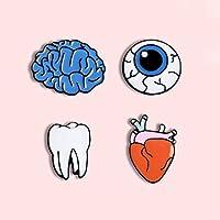 ZSCZQ クリエイティブな漫画の歯脳金属エナメルブローチシンプルなファッション目ハートバッジドクターナースラペルバックパックジュエリーギフト歯