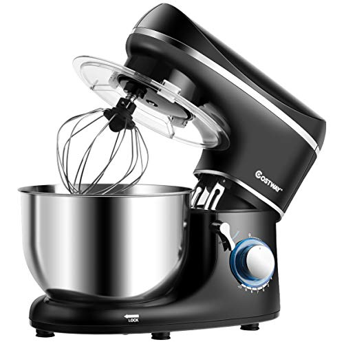 COSTWAY 1300W Küchenmaschine Knetmaschine, 5,5L Rührmaschine, 10-stufen Teigmaschine inkl. Schneebesen, Knethaken, Rührbesen und Spritzschutz(Schwarz)