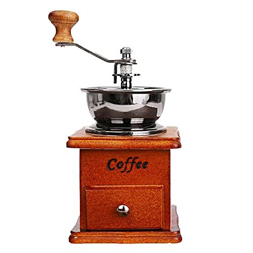 ANCLLO Manuelle Kaffeemühle, Kaffeemühle, Kaffeemühle, Kaffeemühle, Kaffeebohnenmühle, Vintage Antik Holz Handmühle mit Einstellbarer Getriebeeinstellung und Keramik konischer Grat