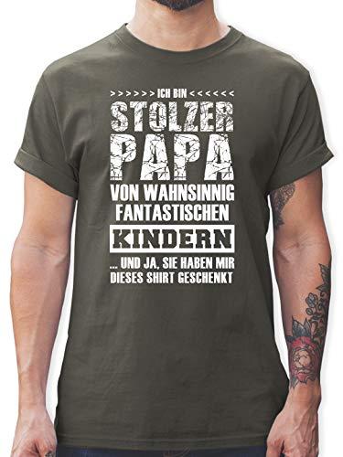 Vatertag - Stolzer Papa Fantastische Kinder - L - Dunkelgrau - Vater Kind Shirt - L190 - Tshirt Herren und Männer T-Shirts