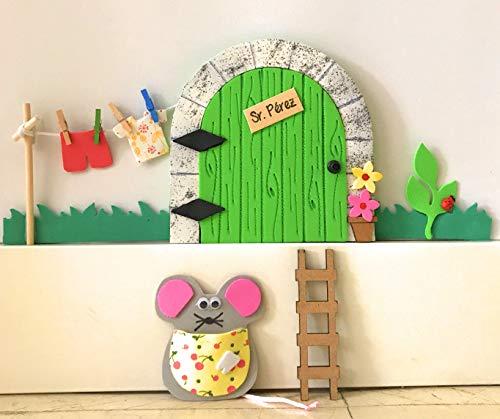 Puerta ratoncito Pérez GOMA EVA VERDE LIMA QUE SE ABRE CON JARDIN+ escalera+ ratón guardadientes.