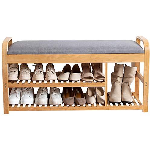 LXF Shop Organizador Zapatos Armario Mueble Zapatero Organizador de Zapatero de Entrada, Grande Banco de Zapatos con Amortiguar/Encargarse de/Tapa, 2 Niveles Muebles de Madera por Sala Cuarto Pasillo