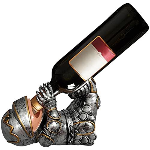 Porta botellas de vino Resina Caballero medieval Estante para botellas de vino Caballero medieval con armadura plateado Porta botellas de vino Único Estante para botellas de vino vintage   15,3 x 24,6