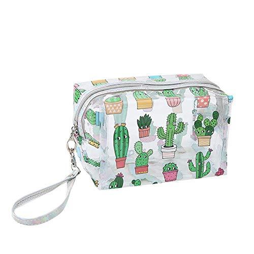 Bolsa de cosméticos Transparente para niña, Bolsa de Lavado Impermeable para Estudiantes, Bolsa de Almacenamiento de Cactus, Estuche para lápices