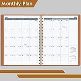 kalender 2021 2022 mit Zeiten, Tagesplaner zum Anzeigen des Stundenplans in 15 Minuten, 21,8 x 29 cm, weicher Lederbezug, Terminkalender mit Ringbindung, Braun