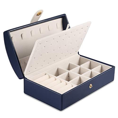 PAMIYO Schmuckkästchen Mädchen, Schmuck Aufbewahrungsbox Schmuckkoffer Klein (Blue)