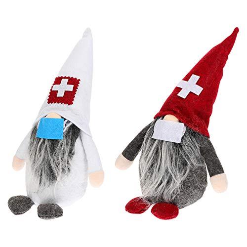 Healifty 2pcs Christmas Gnome Doll Handmade Plush Swedish Doctor Nurse Figure Gnome Scandinavian Tomte Stuffed Toy Desktop Ornament for 2021 Christmas Memory
