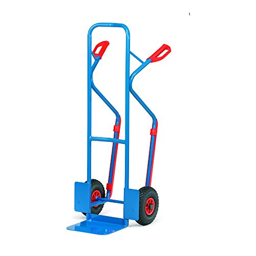 Fetra Stahlrohrkarre, Traglast 300 kg, Schaufel, Luftbereifung, 1 Stück, 1300 x 580 mm, blau, B1330L