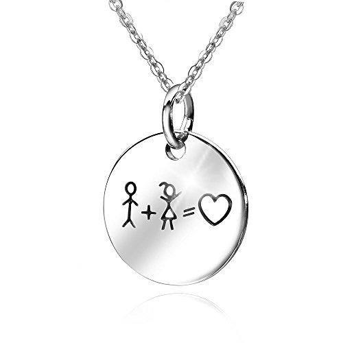 Materia Ankerkette mit 925 Silber Anhänger mit Gravur personalisiert rund Freundschaft Liebe 18x22mm + Box #362-30, Schrifttyp:Ohne Gravur
