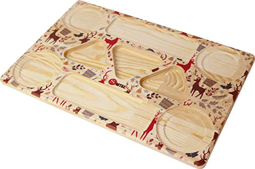 SMTGL Decorative Wooden Serving Tray - with Cup Holder - Charcuterie Boards - Perfect for Serving Cheese, Meat, Fruits, Snack, Appetizer, Wine, Tea and Coffee - Ottoman Tray