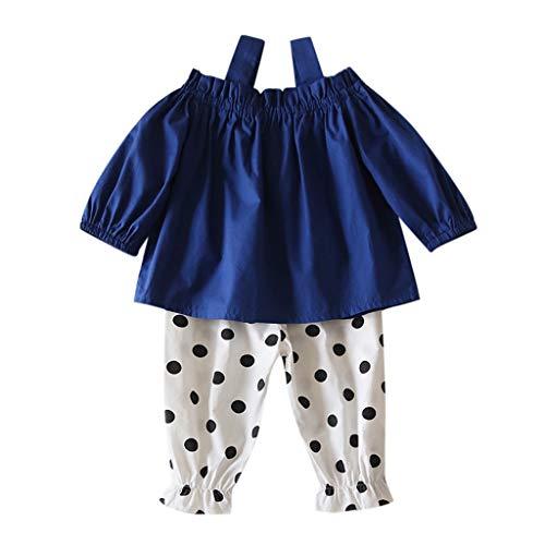 Kleinkind Baby Kinder Mädchen Schulterfrei Solide T Shirt Tops + Dot Hosen Outfits