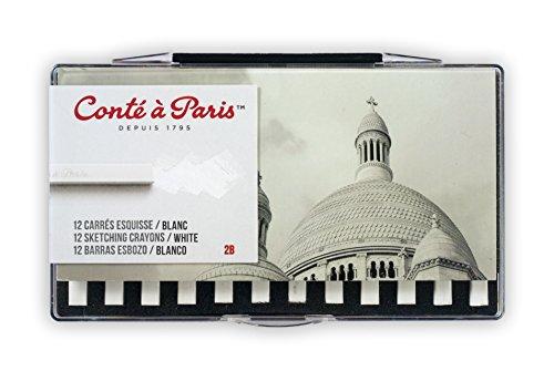 Conté à Paris 12 Count 2B Sketching Crayons Set, White