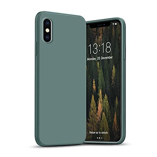 GOODVIHSH Cover in Silicone Morbida Ultra Sottile Compatibile con iPhone X/XS 5.8 '',con Protezione per Fotocamera, Custodia Protettiva Antiurto Antiscivolo progettata per iPhone X/XS Case,verde scuro