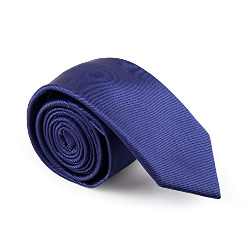 GENTSY ® Cravatte da Uomo Cucita a Mano - Larghezza 8cm o 6cm - Tinta Unita (K38 blu)