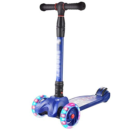 Great Price! LXJJ-gf Children's Scooter, Height Adjustable Super Wide Deck PU Lightning Car 3 Wheel ...