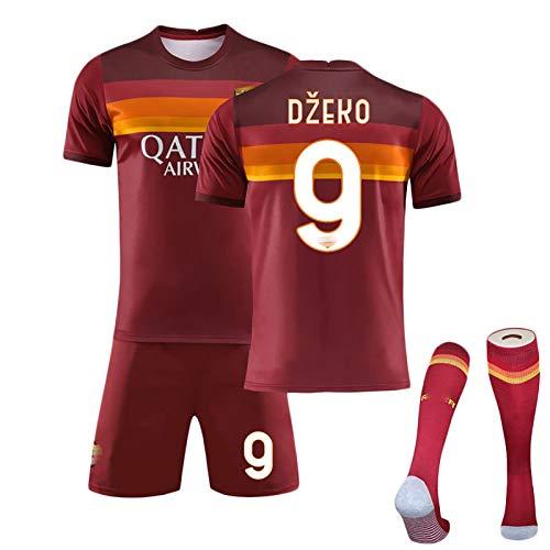 ZYWCXM Jersey de fútbol Infantil para Hombres, Adecuado para Roma Dzeko No.9 Jersey, Totti 10# Uniforme de fútbol, Ropa de fútbol Personalizable, se Puede Lavar repetida NO.9-22