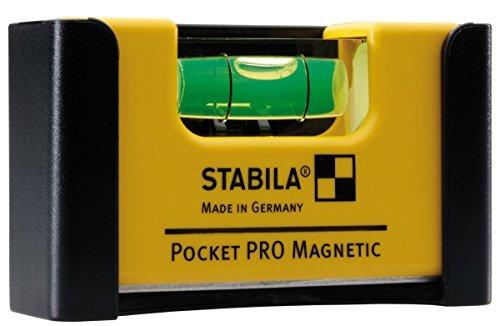 STABILA Wasserwaage Pocket PRO Magnetic, 7 cm, mit Seltenerd-Magnetsystem und Gürtel-Clip