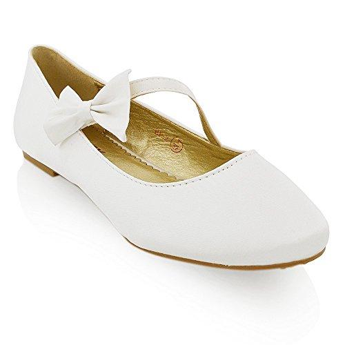 ESSEX GLAM Scarpa Donna Bianco Satinato Ballerina Tacco Piatto Fiocco Glitter Matrimonio EU 40