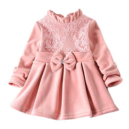 Kobay Babykleid Festlich Kleinkind Baby Kinder Mädchen Feste Dicke Spitze Bogen Geraffte Prinzessin Kleid(18-24M,Rosa)