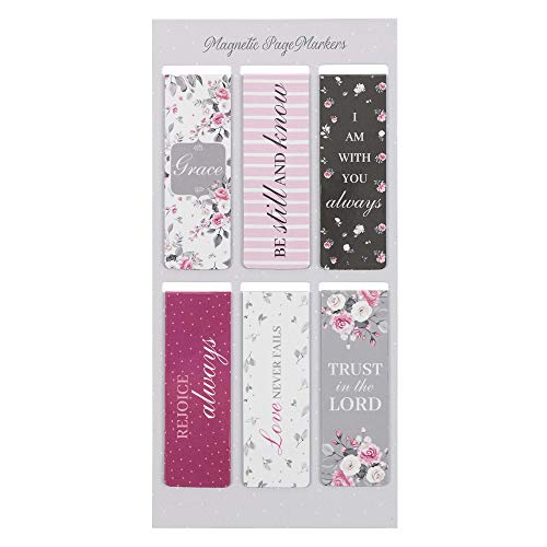 Set of 6 Beloved Scripture Favorites w/Pink Roses Inspirational Magnetic Bible Verse Bookmark with Scripture, Size Small 2.3' x .75'