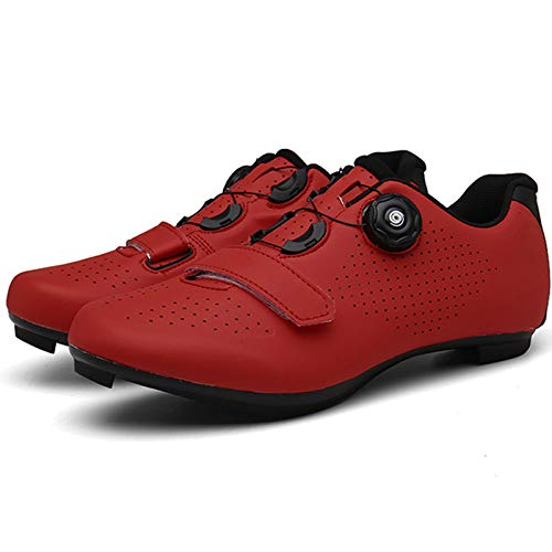 YQSHOES Mens Womens Road Bike Cycling Shoes Riding Shoes with Compatible SPD and Delta Cleats for Indoor Outdoor,Red,41EU/8UK/8.5US