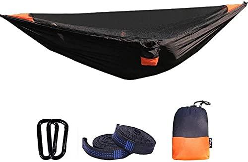 Camping Hamaca Colgante Hamaca portátil | Hamaca al Aire Libre de Velocidad automática con mosquitera | para mochileros, Viajes, Playa, asamblea rápida y fácil (Color : Black)