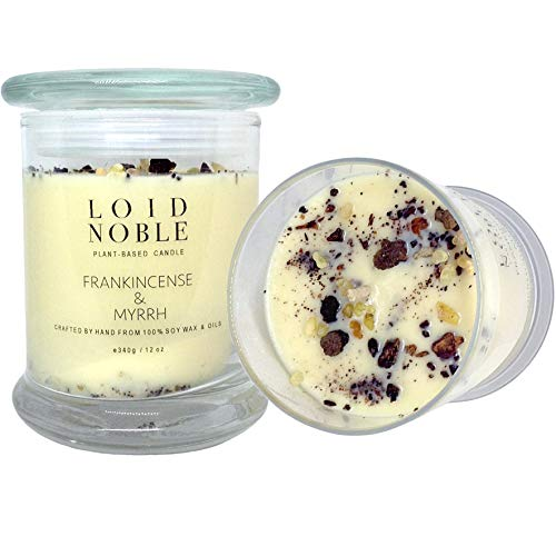 LOID NOBLE's Pure Frankincense and Myrrh Essential Oil Soy Wax Candle with Myrrh & Frankincense Resins | Spiritual Awakening | Meditation | Healer | Aromatherapy | Double Cotton wicks | Coloring Free