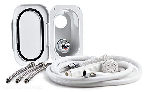 wellenshop Duschset mit Duschschlauch 5 m + Brausekopf + Mischbatterie + Einbaubox Bootsdusche Dusche Duschgarnitur Boot Wohnwagen