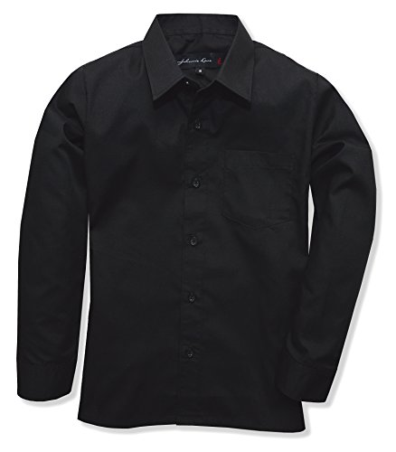 Johnnie Lene Boy's Long Sleeves Dress Shirt from Baby to Teen JJL32 (16, Black)