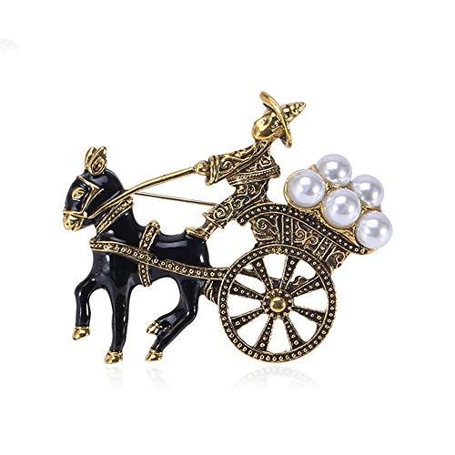 COLORFULTEA Vintage Caballo Dibujado Carruaje Broche Lindo Animal Pin Moda Mujeres Y Hombres Broches Joyería