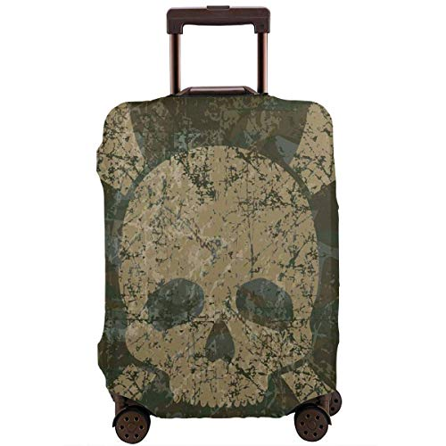 Travel Suitcase Protector Camo Skull Crossbones Rusty Grunge Style Luggage Cover Protective Travel Trunk Case Elastic Suitcase Protector Fits 18-21 Inch Luggage