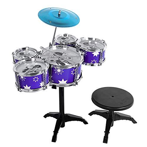 sanlinkee Batería Niños Kit con Taburete, 5 Piezas Jazz Batería Instrumento Percusión Musical Juguete para Niños Mayores de 3 Años, Mini Jazz Drum Band Rock Set Niños Cumpleaños, Azul