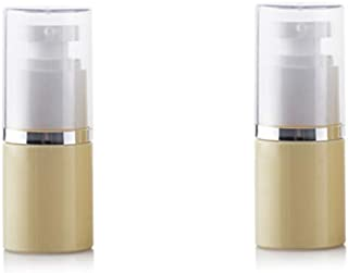2Pcs Portable Beige Plastic Lotion Pump Bottle with Clear Lid Empty Refillable Emulsion Press Bottle Cosmetic Storage Cont...