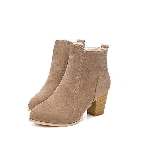 Beladla Zapatos De Mujer Botines Cortos Cabeza Redonda TalóN Grueso TacóN Alto Femenino Botas Navidad Invierno Moda Ocio TalóN Grueso Espesor del Zapato Zapatos Inferiores