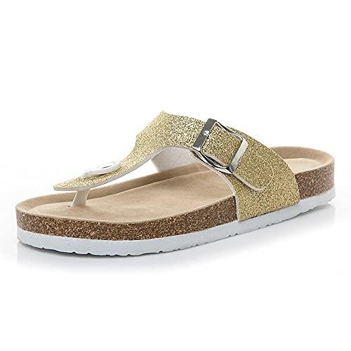 COQUI Mules Mujer Tacon,Nuevas Lentejuelas Multicolor PVC Corkship Slippers Beach Shoes-Luz de Oro_43