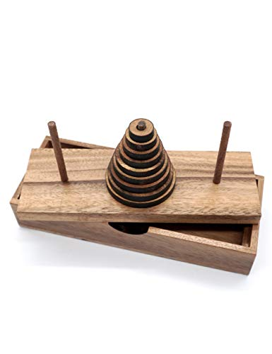 Fun Puzzle Board Games Gifts of Hanoi Tower (9 Rings) with Wooden Designs for Brain Teasers Logic Games Kids and Adults to Challenges Mastermind Game and Think for Fun with Learning Tower Puzzles
