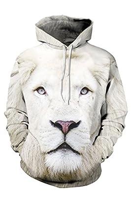 Cutiefox Unisex 3D Animal Digital Printed Pullover Active Hooded Sweatshirt