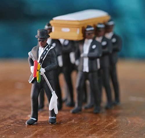 GHFHH Manuelle Garage kit PVC Figur Neger trägt einen Sarg Tanzsammlung Animierte Figur Modell Statue Dekoration Ghanaische Bräuche Trauer