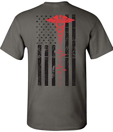 Patriot Apparel Nurses Thin Red Line EMT First Responder Paramedic Nurse Men's Unisex Mens Fit T-Shirt Design (Medium, Dark Grey)