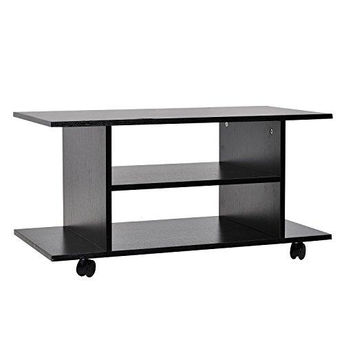 Homcom TV-meubel, modern design, met wielen, hout, 40 × 40 × 80 cm, zwart