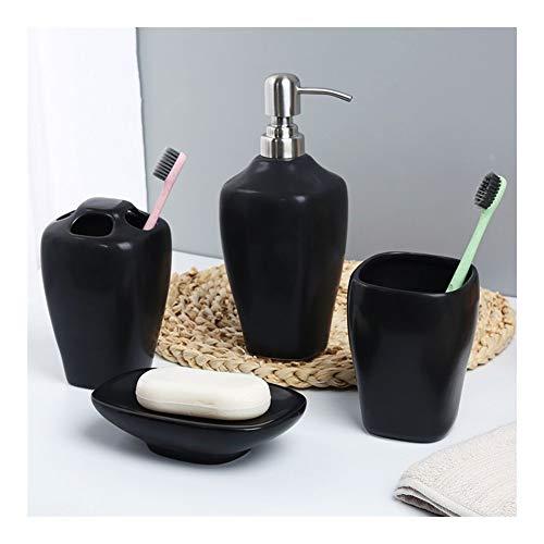 TXOZ-Q Sencillo de 4 Piezas de cerámica Juego de Accesorios de baño |Baño de diseño dispensador de la loción, Cepillo de Dientes Titular, Vaso, Plato de jabón de Elegir del Negro, Blanco,