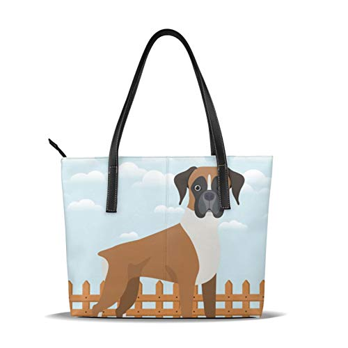 Boxer Dog 1 Tote Bags For Women Women Ladies Handbags Soft Pu Leather Top Handle Shoulder Bag Satchel Bag Shopper Bag For Women