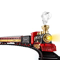 A FULL SET WITH NUMOROUS ACESSORIES – This motorized train comes with a classic Christmas steam and tender, 2 passenger coach, a coal vehicle, 8 pcs curved tracks and 4 straight tracks. Turn on the railway set and get ready to embark on a pleasant jo...