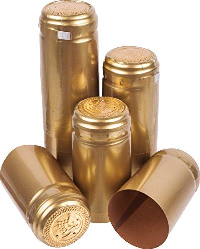 SCHRUMPFKAPSELN x 100 GOLD - Flaschenkapseln mit Siegel Weinflaschenkapseln mit Abriss Flaschenkapseln Siegelkapseln Schrumpfkapsel